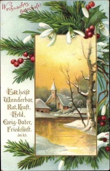 Passepartout Ak Glückwunsch Weihnachten, Jesaja 9, 6, Kirche, Schneeglöckchen