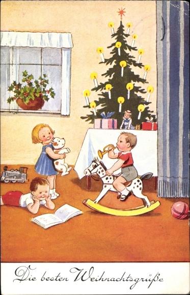 Ak Glückwunsch Weihnachten, Junge auf einem Schaukelpferd, Tannenbaum, Puppe, Ball, EAS 138