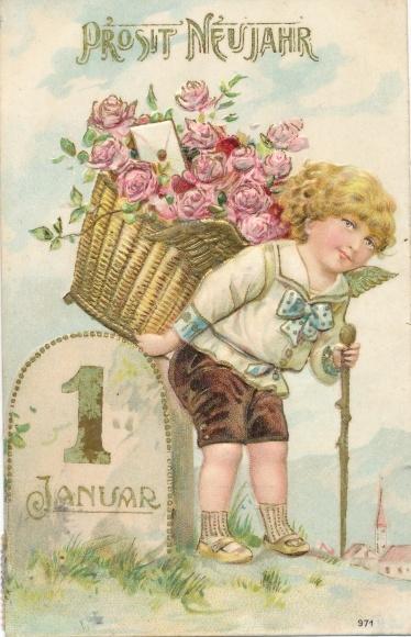 Präge Litho Glückwunsch Neujahr, Engel mit Rückentrage, Rosen, 1 Januar