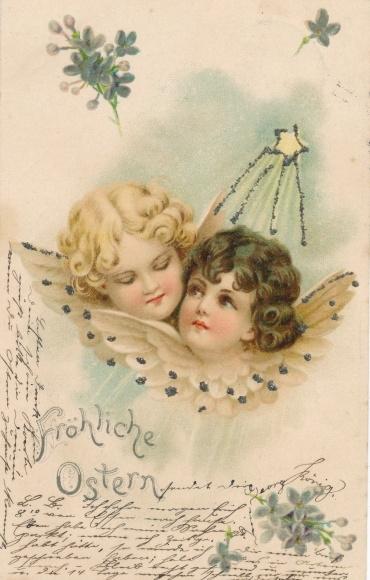 Glitzer Litho Glückwunsch Ostern, Zwei Engelsköpfe, Stern, Blüten