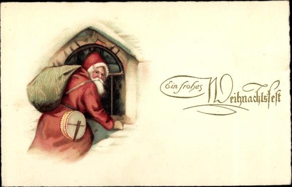Litho Frohe Weihnachten, Weihnachtsmann am Fenster, Sack, Trommel