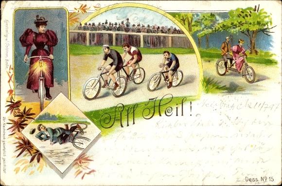 Litho All Heil, Fahrräder, Rennfahrer auf der Strecke, Paar auf Tandem, Fahrradlaterne, Sturz