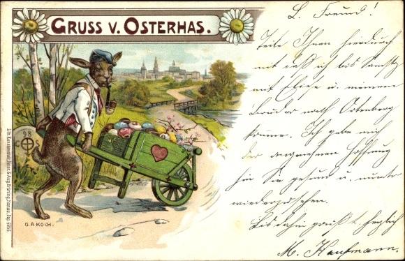 Künstler Litho Koch, O. A., Osterhase mit Pfeife, Schubkarre, Ostereier