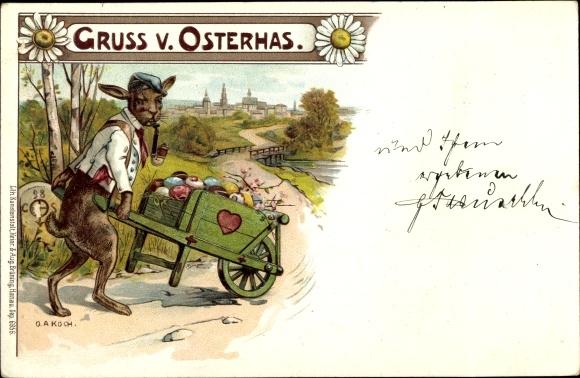 Künstler Litho Koch, O. A., Glückwunsch Ostern, Osterhase mit Pfeife, Schubkarre, Ostereier