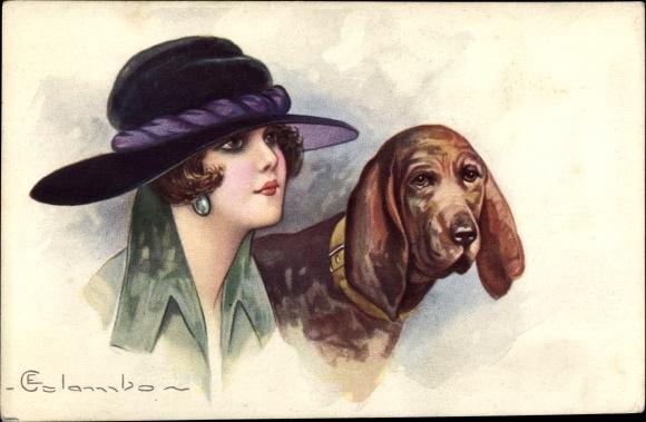 Künstler Ak Colombo, E., Dame mit Mantel und Hut, Hund mit Halsband