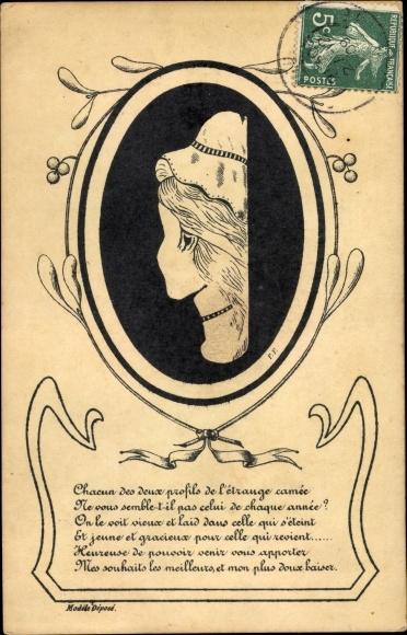 Vexier Ak Frauenportrait, Alte Frau mit Haube, junge Frau von Hinten