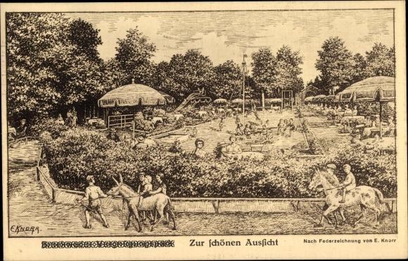 Künstler Ak Knorr, E., Bielefeld Nordrhein Westfalen, Restaurant zur schönen Aussicht, Bes. F. Voss