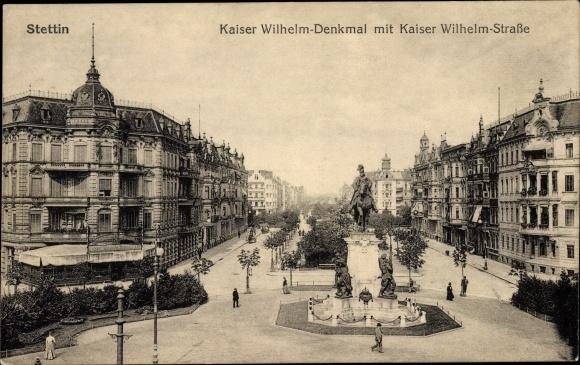 Ak Szczecin Stettin Pommern, Kaiser Wilhelm Denkmal, Kaiser Wilhelm Straße