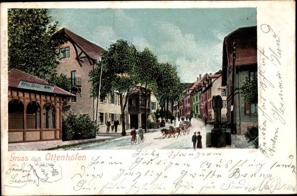 Ak Ottenhöfen im Schwarzwald, Hotel Engel, belebte Straßenszene, Kutsche, Fahrradfahrer