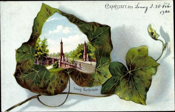 Efeu Litho Cannstatt Stuttgart in Baden Württemberg, Königl. Karlbrücke