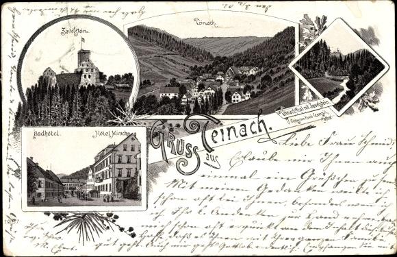 Litho Bad Teinach Zavelstein, Hotel Hirsch, Badhotel, Teinachtal, Panoramaansicht von Ortschaft