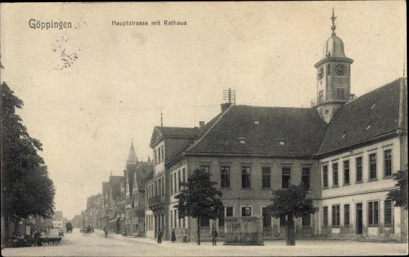 Ak Göppingen in Baden Württemberg, Hauptstraße, Rathaus, Häuserfassaden