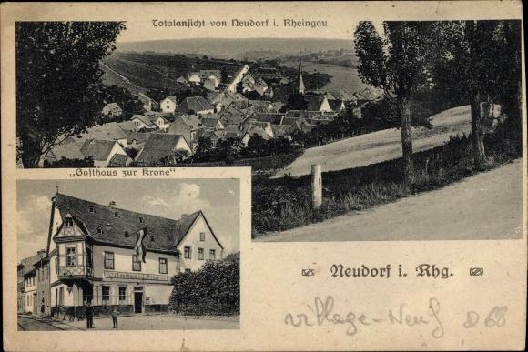 Ak Neudorf Eltville, Gasthaus zur Krone, Besitzer Wilhelm Knell, Panoramaansicht von Ortschaft
