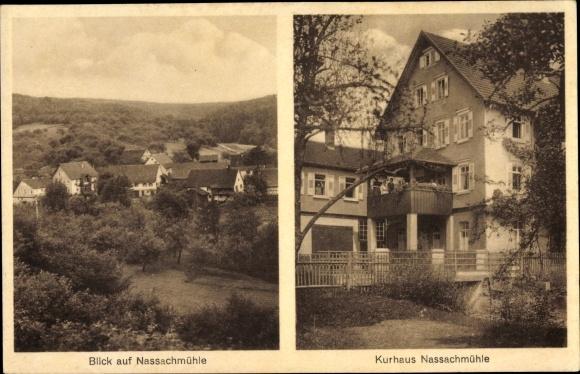 Ak Nassachmühle Uhingen im Filstal, Kurhaus Nassachmühle, Balkon, Gäste, Blick über die Dächer