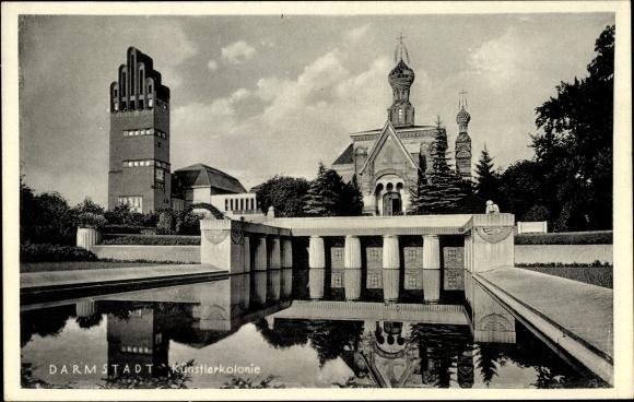 Ak Darmstadt in Hessen, Künstlerkolonie, Gesamtansicht, Wasserbecken
