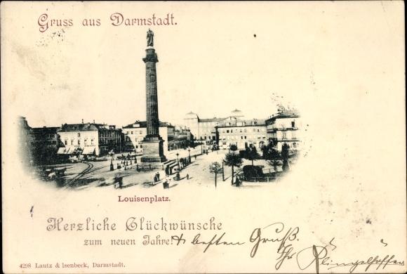 Ak Darmstadt in Hessen, Louisenplatz, Denkmal, Panorama