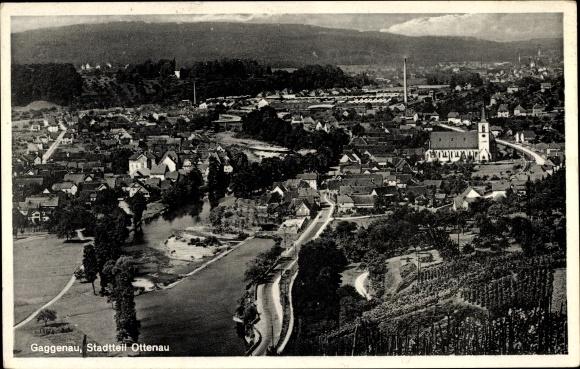 Ak Gaggenau Ottenau im Murgtal, Panoramaansicht von Ortschaft, Kirche, Weinberg, Schwarzwald