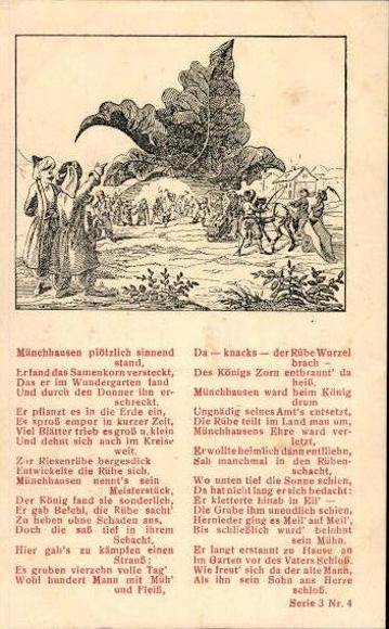 17 alte Künstler Gedicht Ak Baron von Münchhausen, diverse Motive