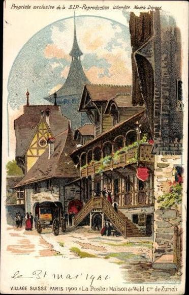13 alte Künstler Ak Paris, Expo 1900 Weltausstellung, Village Suisse, Schweizer Dorf, diverse Motive