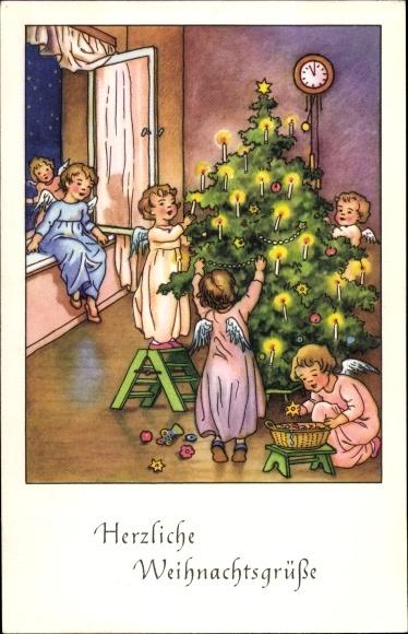 Ak Glückwunsch Weihnachten, Engel schmücken den Weihnachtsbaum, Wanduhr