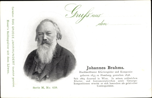 Ak Johannes Brahms, Komponist, Klavierspieler, Portrait, Esser's Seifenpulver
