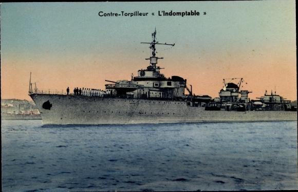 Ak Französisches Kriegsschiff, L'Indomptable, Contre Torpilleur