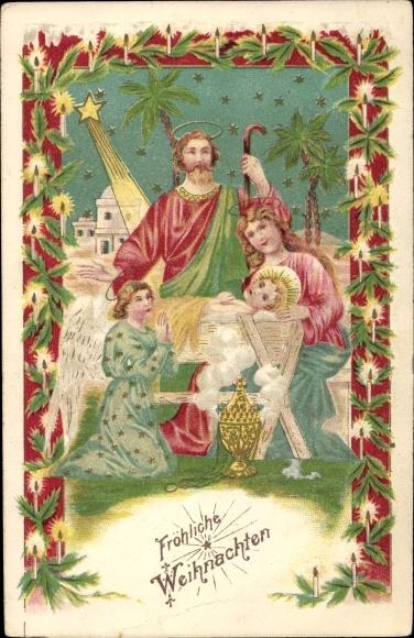 Präge Ak Frohe Weihnachten, Heilige Familie, Krippenszene, Engel, Sternschnuppe, Weihrauchfass