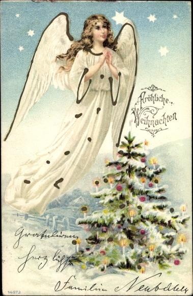 Litho Frohe Weihnachten, Betender Engel, Tannenbaum, Winterlandschaft