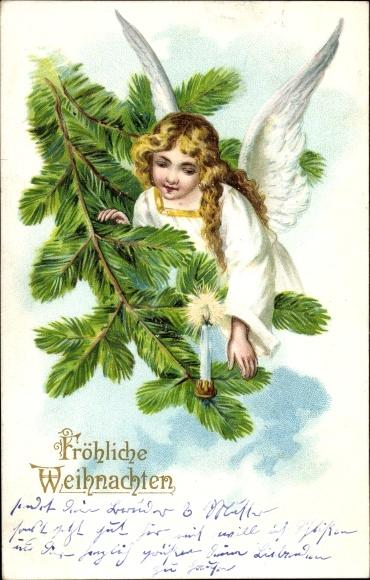 Präge Litho Frohe Weihnachten, Engel, Tannenzweig mit Kerze