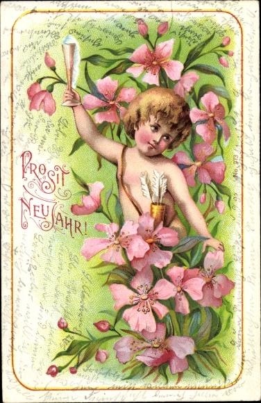 Litho Glückwunsch Neujahr, Engel mit Pfeilköcher, Sektglas, Blumen