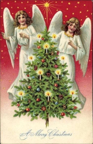 Präge Litho Frohe Weihnachten, A Merry Christmas, Engel, Tannenbaum