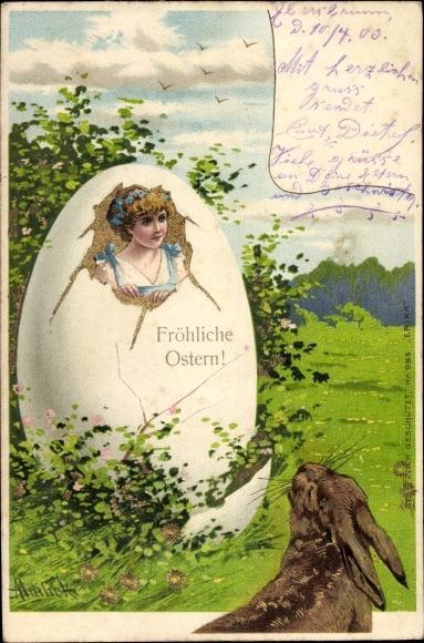 Präge Künstler Ak Mailick, Glückwunsch Ostern, Frau schlüpft aus Osterei, Hase