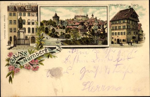 Ak Nürnberg in Mittelfranken Bayern, Albrecht Dürer Denkmal, Albrecht Dürer Haus, Ortsansicht