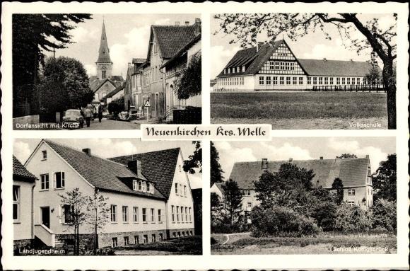 Ak Neuenkirchen Melle in Niedersachsen, Schloss Königsbrück, Volksschule, Kirche, Landjugendheim