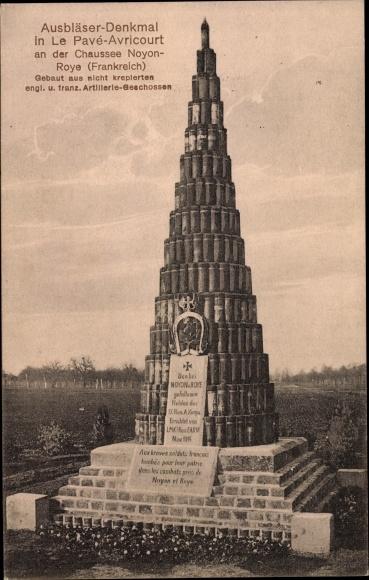 Ak Avricourt Lothringen Moselle, Le Pave, Ausbläser Denkmal, Artillerie Geschosse