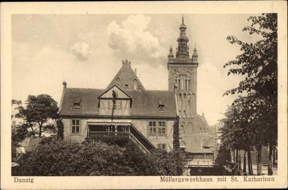 Ak Gdańsk Danzig, Müllergewerkhaus mit St. Katharinen