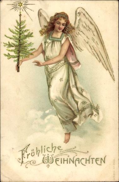 Präge Litho Glückwunsch Weihnachten, Engel mit Tannenbaum auf einer Wolke