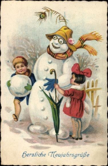 Ak Glückwunsch Neujahr, Schneemann, Kinder, Schirm, Brille