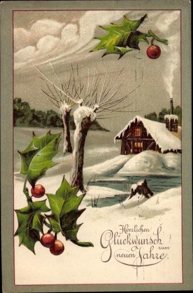 Präge Ak Glückwunsch Neujahr, Stechpalmenblätter, Winterszene