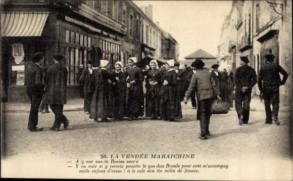 Ak La Vendée Maraichine, Straßenpartie, Passanten in Trachten, Frauengruppe
