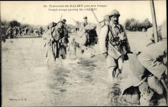 Ak Griechenland, Französische Truppen passieren den Gallikos Fluss, Soldaten