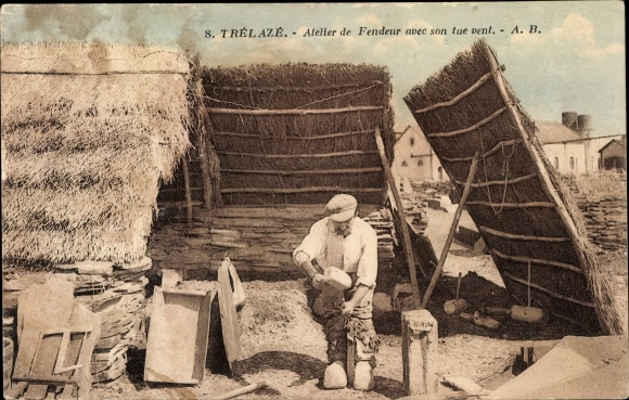 Ak Trelazé Maine et Loire, Atelier de Fendeur avec tue vent, Steinmetz bei der Arbeit, Windschutz