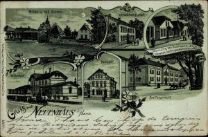 Mondschein Litho Neuenhaus Niedersachsen, Mühle, Verwaltungsamt, Bahnhof, Amtsgericht, Postamt