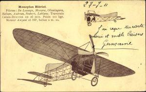 Künstler Ak Monoplan Blériot, De Lesseps, Morane, Olieslagers, Balsan, Aubrun, Hubert, Leblanc