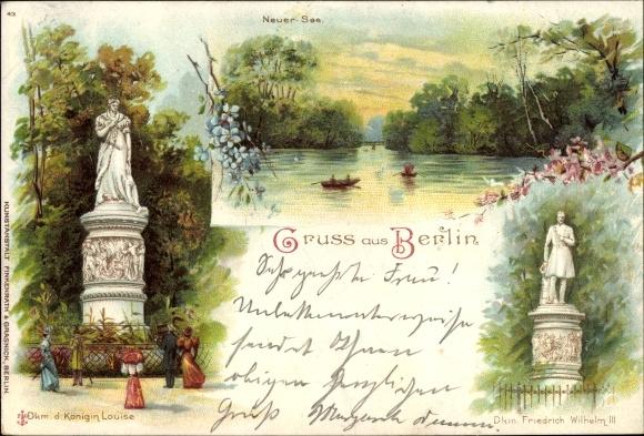 Litho Berlin Tiergarten, Königin Louise und Friedrich Wilhelm III. Denkmal, Neuer See