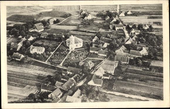 Ak Gesmold Melle in Niedersachsen, Fliegeraufnahme von der Ortschaft