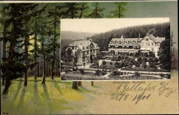 Passepartout Ak Clausthal Zellerfeld im Oberharz, Johanneser Kurhaus, Wald bei Nacht