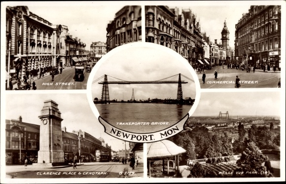 Ak Newport Gwent Wales, High Street, Commercial Street, Transporter Bridge, Clarence Place, Cenotaph
