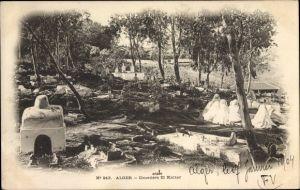 Ak Algier Alger Algerien, Cimetiere arabe El Kattar, arabischer Friedhof