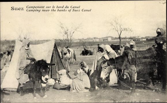Ak Suez Ägypten, Campement sur le bord du Canal, Zeltlager am Suezkanal, Anwohner, Esel